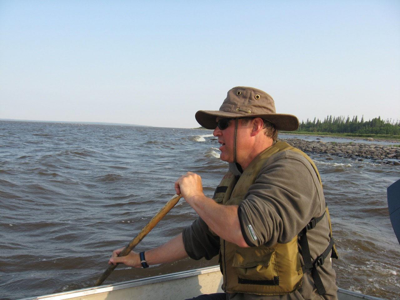 Kreg Ettenger paddling boat
