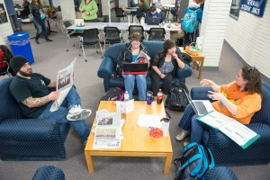 Commuter students studying and relaxing in the Commuter Lounge 2015