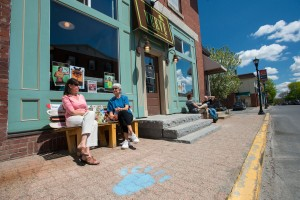 People sitting outside Verve, a restaurant in Orono