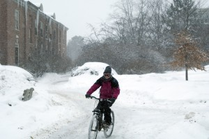 Picture of Bicyclist in winter