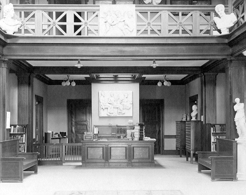 Carnegie Library interior, circa 1910