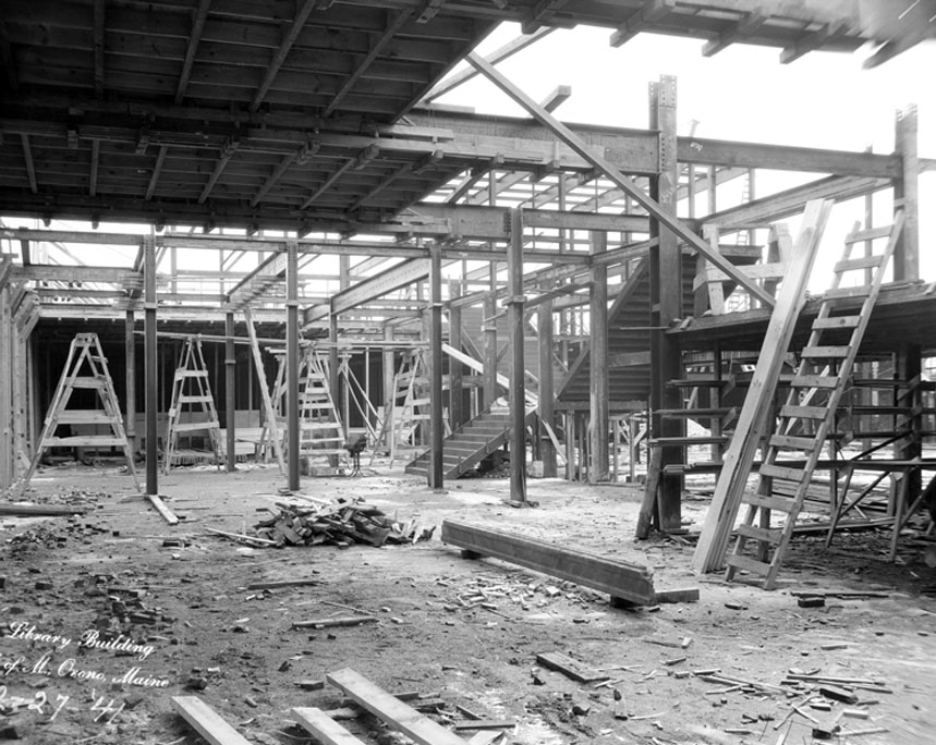 Construction of marble stairs in Fogler Library, circa 1941