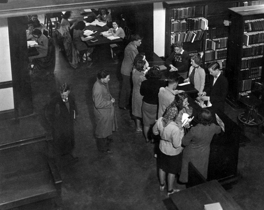 Carnegie Library circulation desk, circa 1942