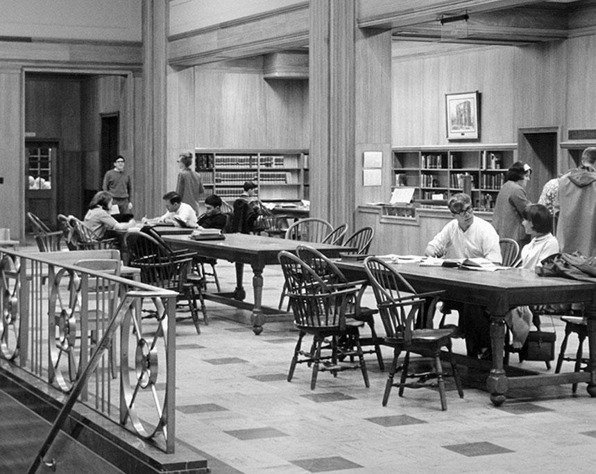 Jones Room east end in Fogler Library, circa 1965
