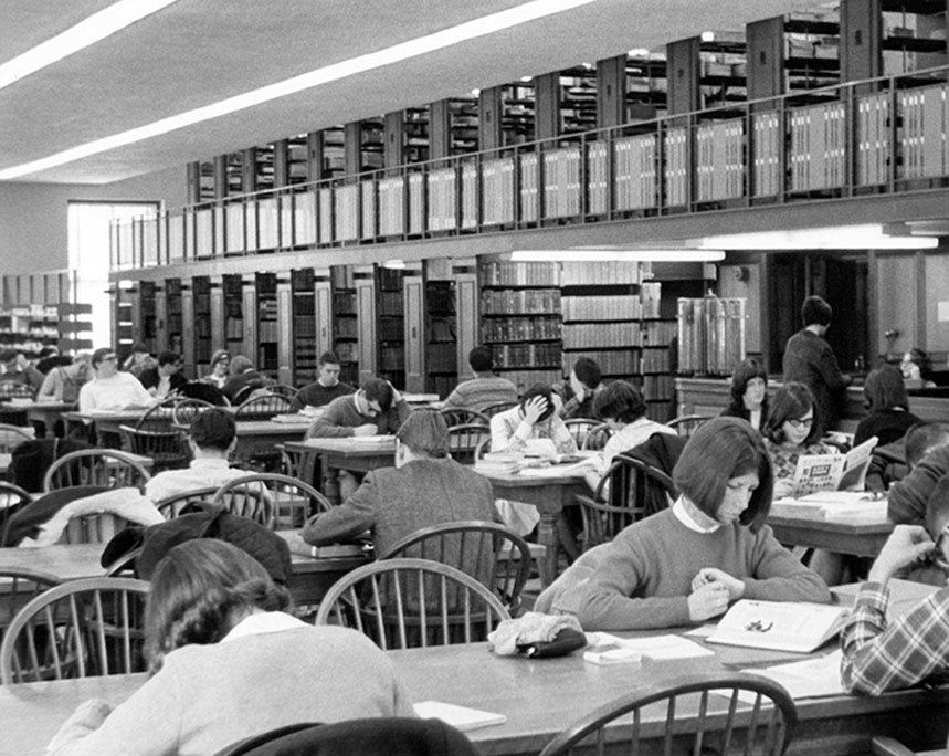 Fogler Library, science and engineering, circa 1967