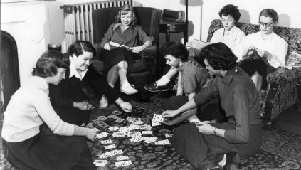 Students playing cards, circa 1953