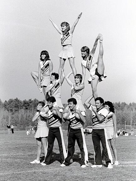 Showing school spirit, circa 1984