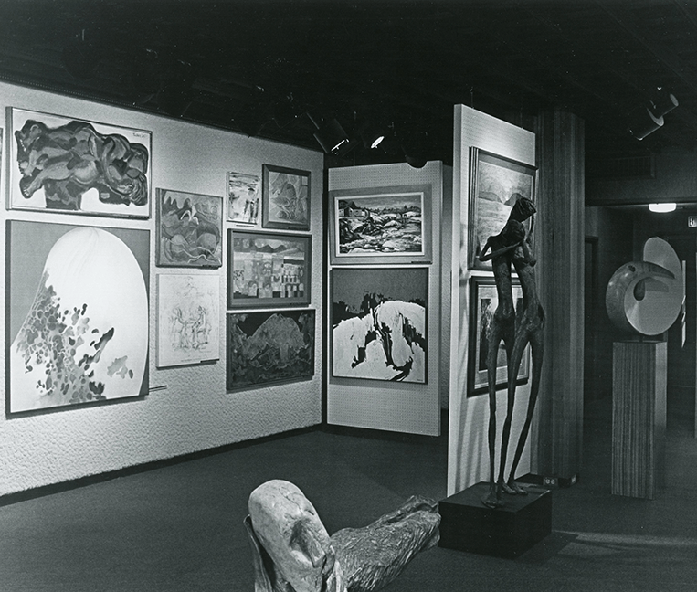 Paintings and sculpture in the Carnegie Museum's Artists of Maine Gallery, circa 1972