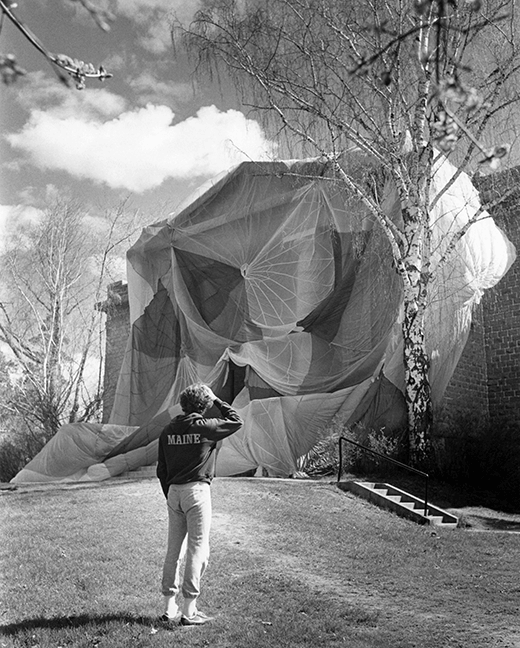 Carnegie Hall draped with a parachute by senior art students, circa 1980