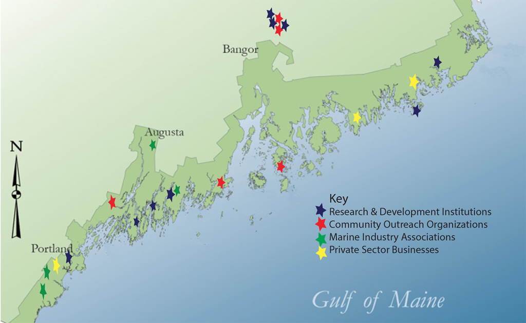 Map of Maine coast showing locations of alliance members