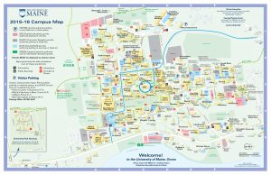 UMaine Campus Map, showing directions to AMC