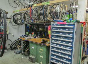 inside of a bike repair shop