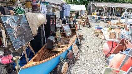 scene from a busy flea market