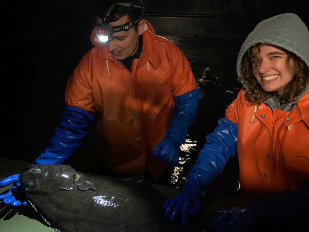Students with halibut