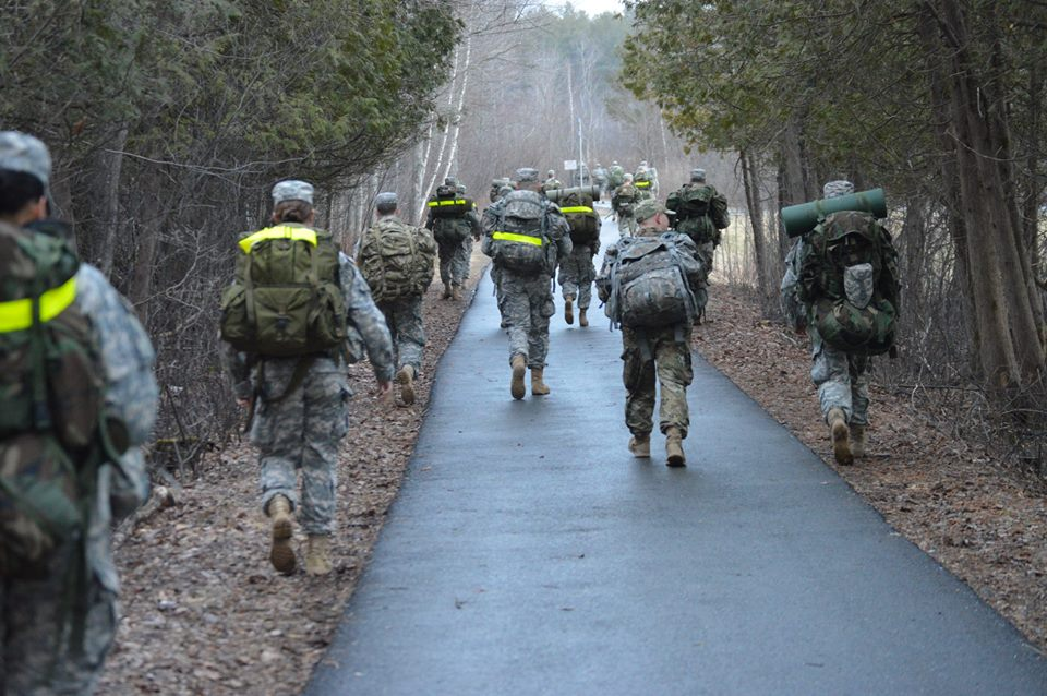 Cadets on a ruck march.
