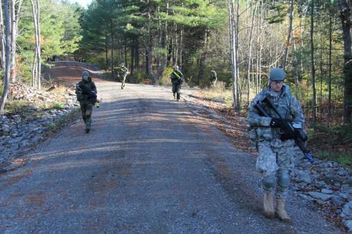 Cadets conducting a tactical road march.