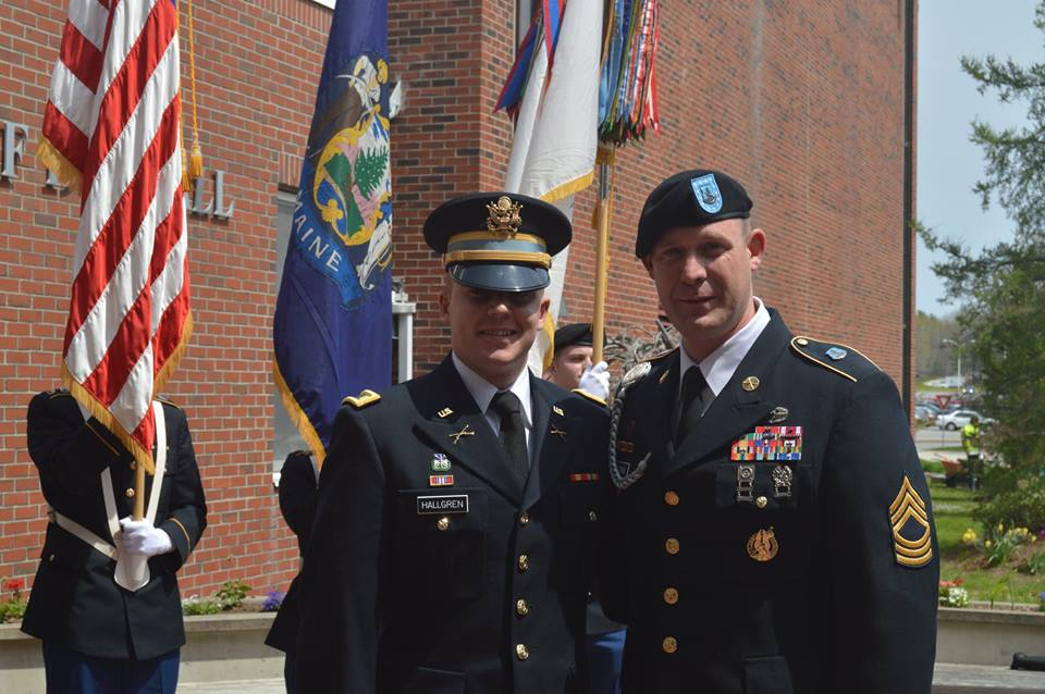 Newly commissioned 2LT Hallgren with MSG O'Brien at commissioning.