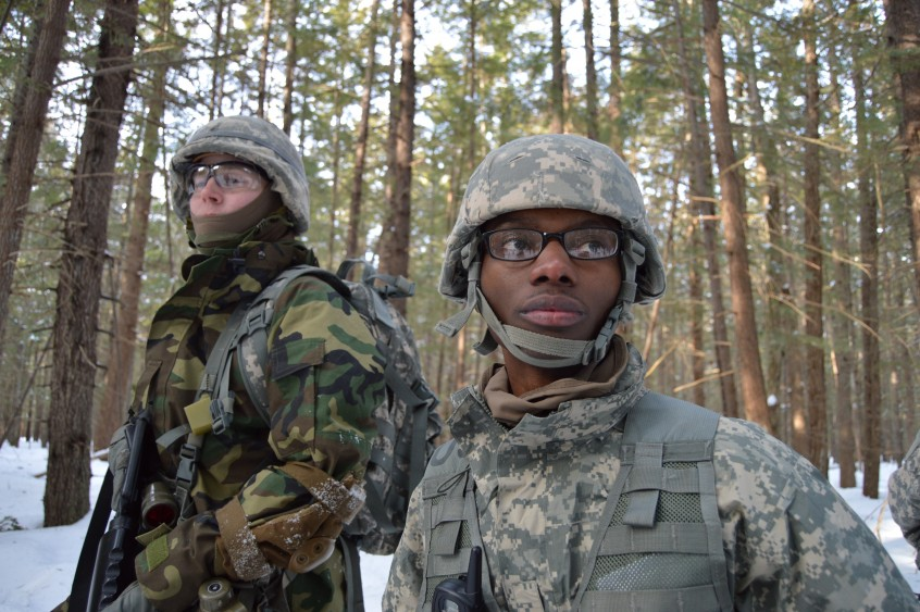 Cadets in the Demeritt Forest during a Lab.