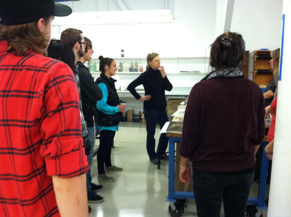 Residency artist Susan Mackin Dolan Visits Print I Class
