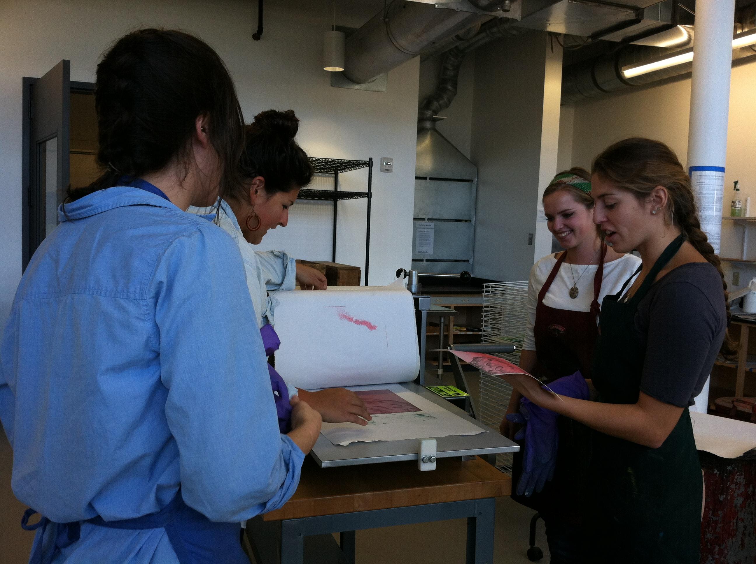 Print II Students Pulling Prints