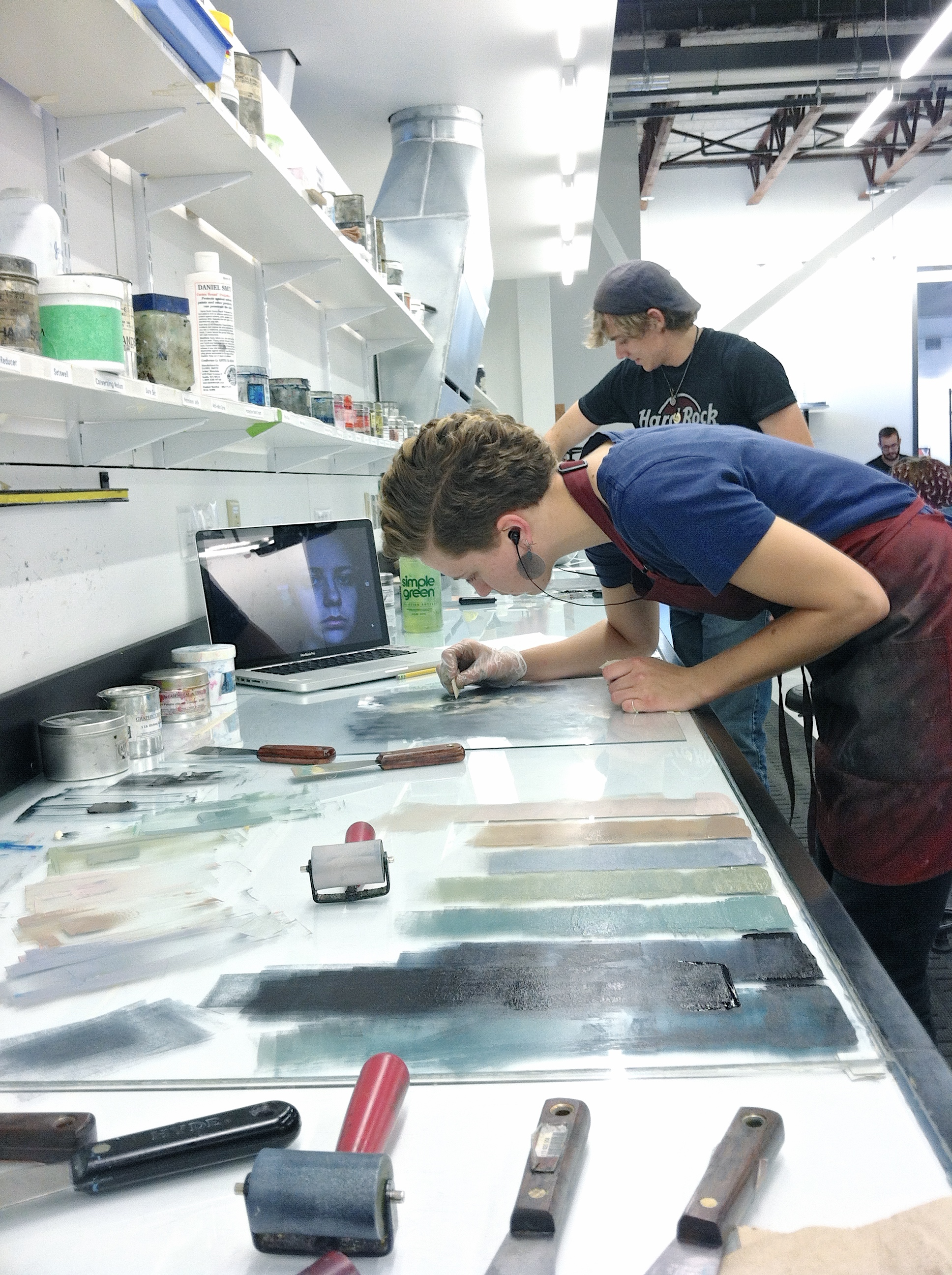 Lucy Creating Monoprint Plates