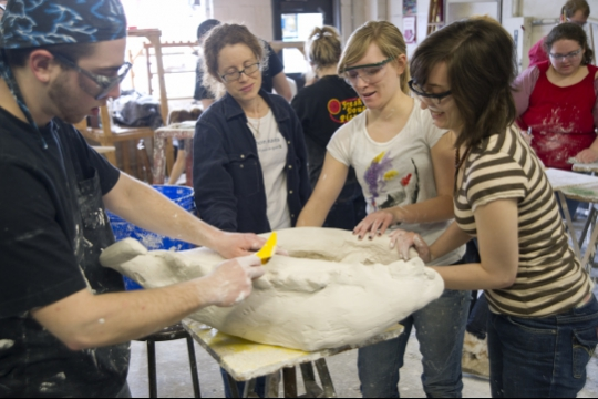 students learn sculpture