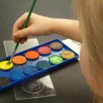 close up of paint color palette