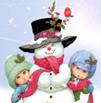 Drawing of snowman and two children in the snow