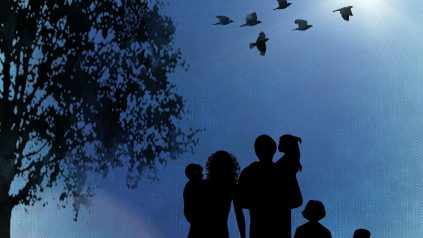 Silouette of family walking outdoors with birds flying overhead