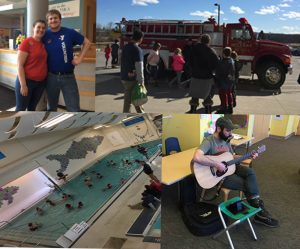 photo collage; ymca event with swimmers, firetruck, guitarist, staff