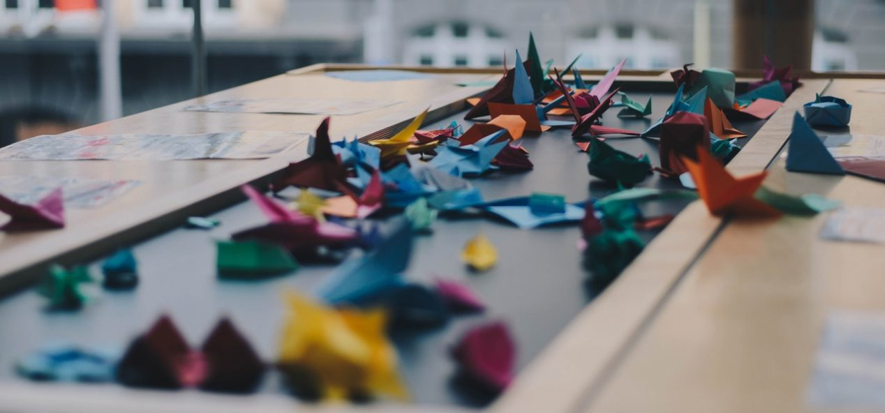 colorful paper cranes origami