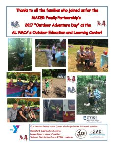 Photo collage of families playing at the Outdoor Adventure Day