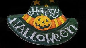 """Witches hat with pumpkin and """"Happy Halloween"""""""