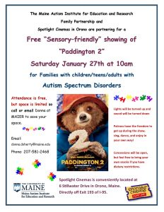 Info flyer for Paddington 2 movie showing