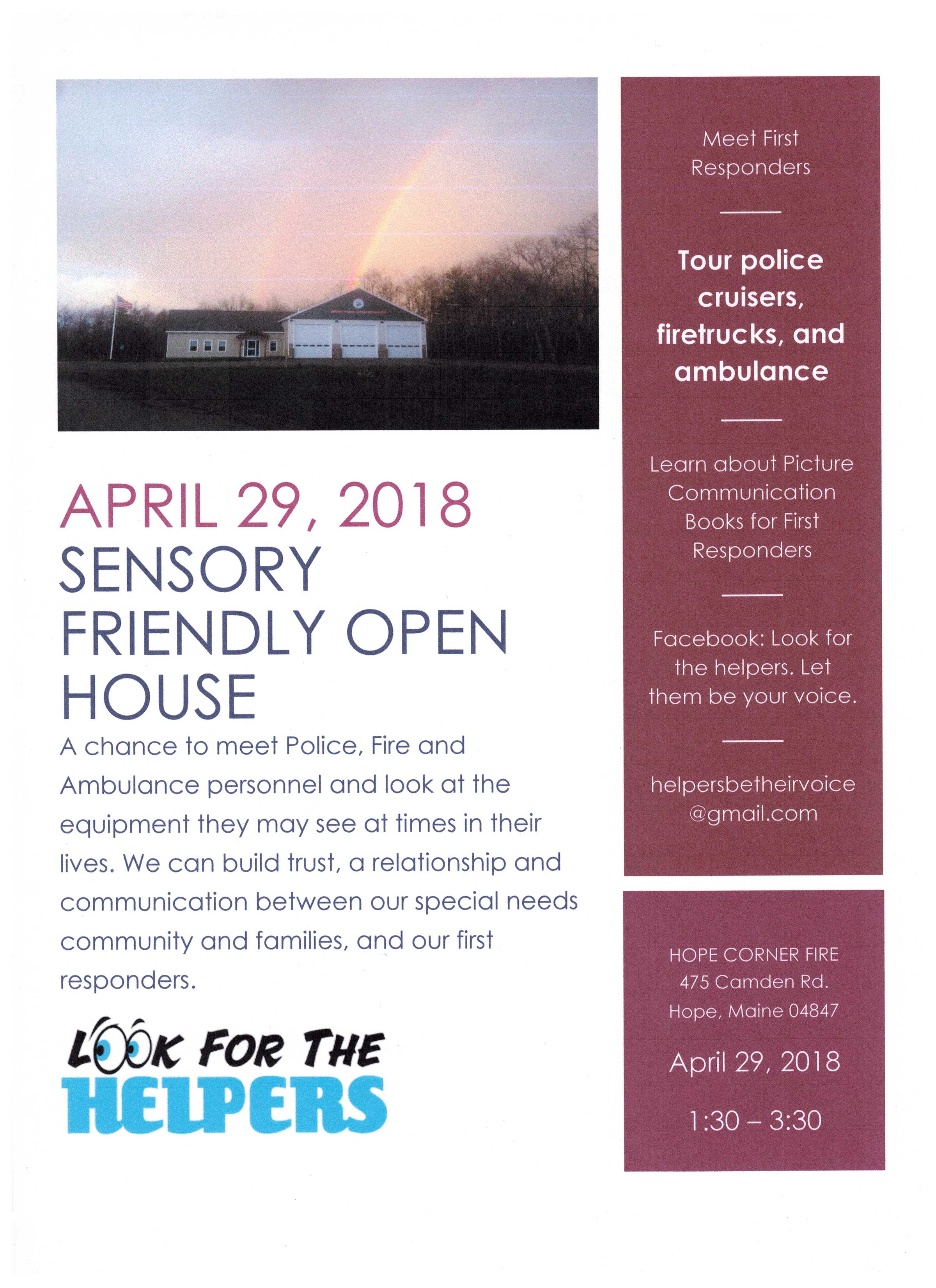 Sensory Friendly Open House with First Responders - Maine Autism Institute  for Education and Research - University of Maine