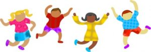 Colorful cartoon of four children jumping and waving