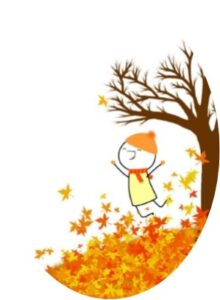 Line drawing of boy jumping in autumn leaves