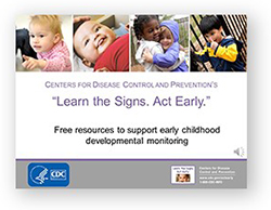 """photos of babies with CDC logo """"Learn the Signs, Act Early"""