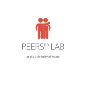 Logo for PEERs Lab at UM: sillouette of two people one with arm over shoulder of the other