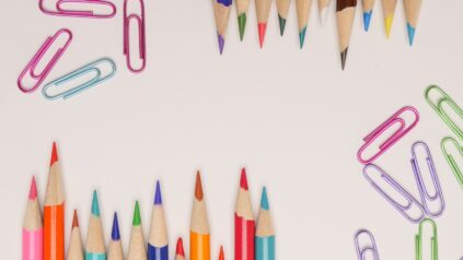Colored pencils and paperclips