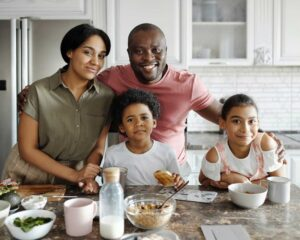 African American family eating together