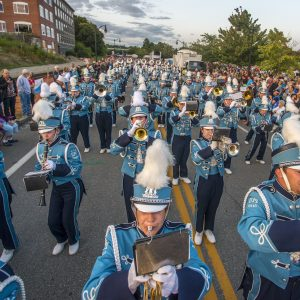 marching band playing in parade
