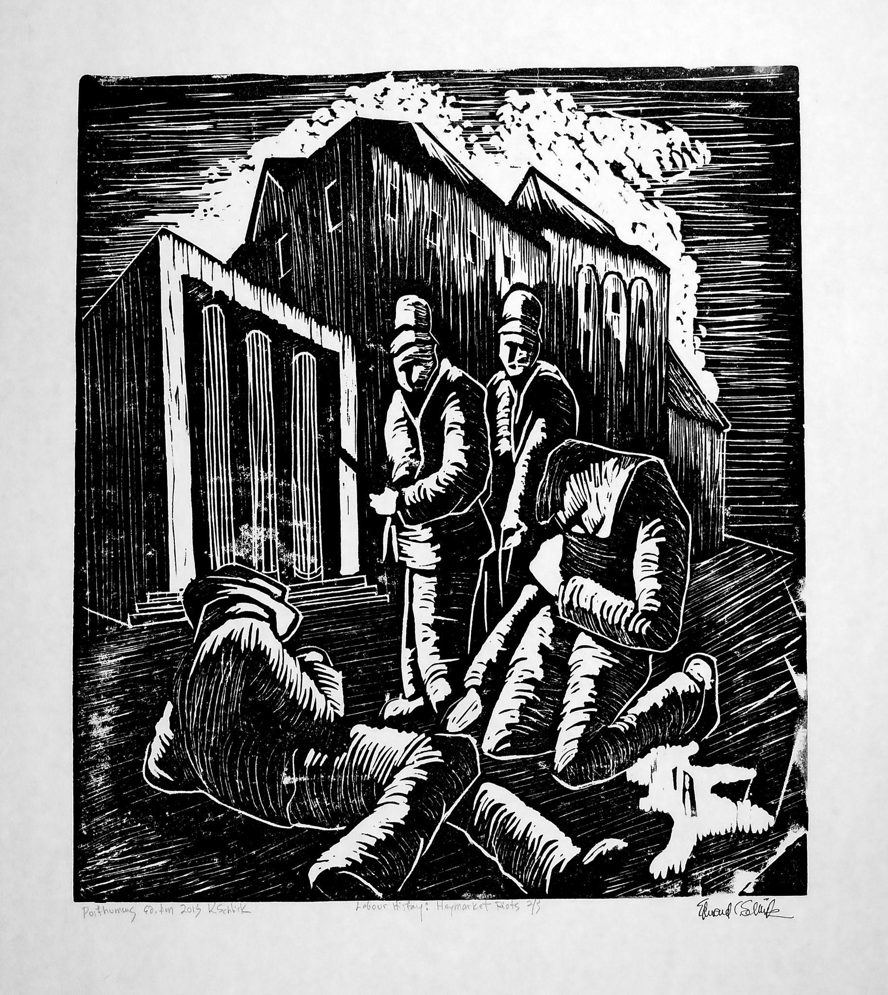 Haymarket Riot woodblock print