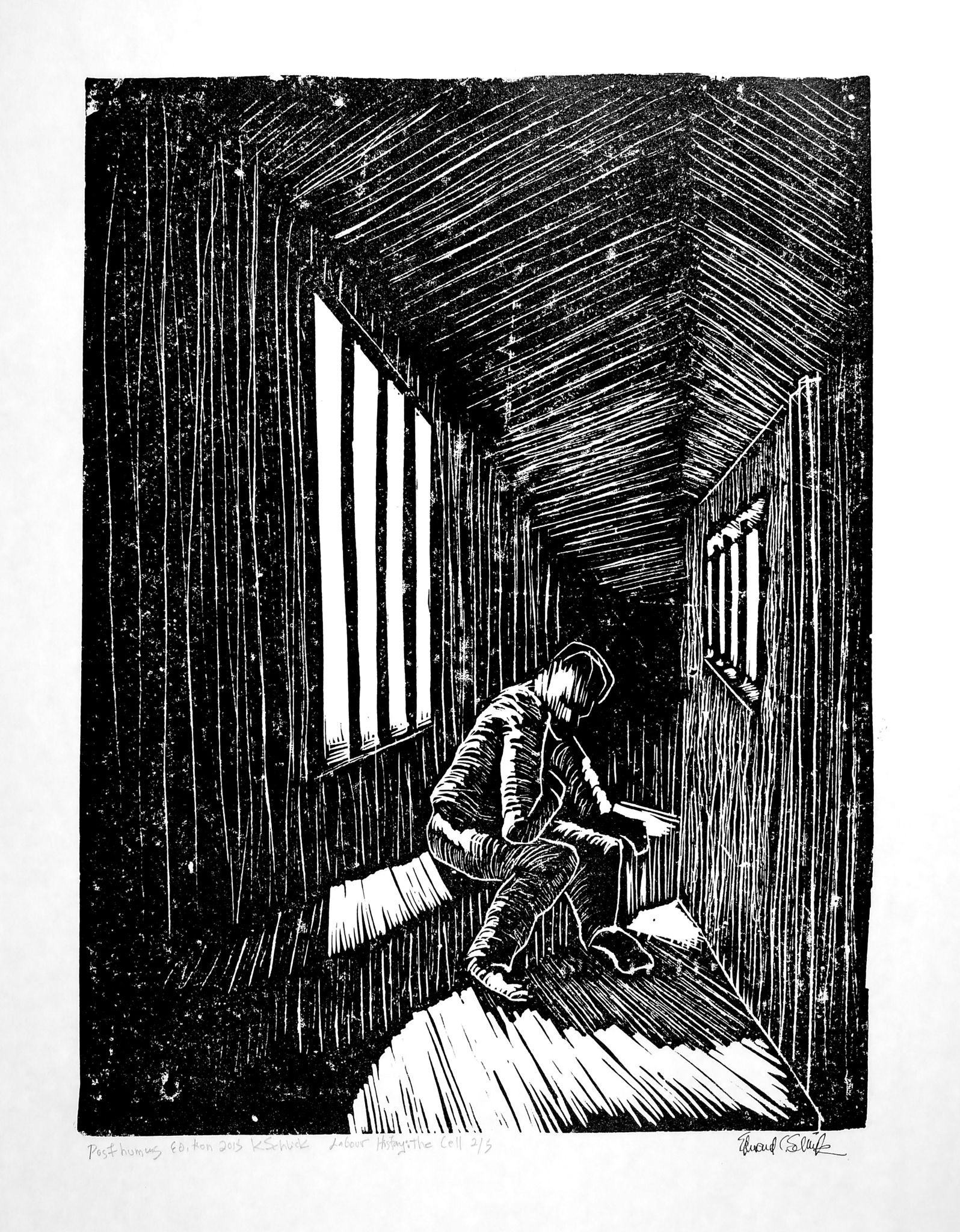 The Cell wood block print