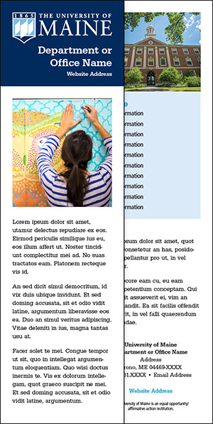 2.5 x 8.5 two-sided bookmark example for UMaine