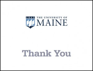 white thank you card example for UMaine
