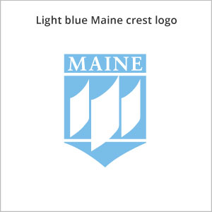 Light blue Maine crest logo