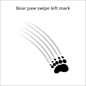 bear paw swipe left mark