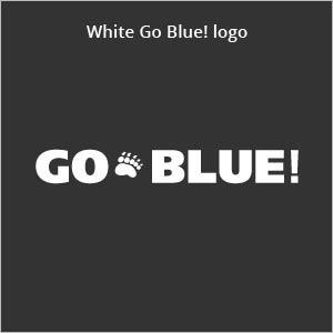 white Go Blue! logo