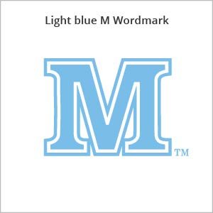 light blue M wordmark